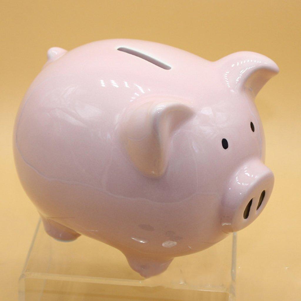 Baoblaze Cute Ceramic Piggy Bank Saving Cash Coin Money Box Children Toy Kids Gifts as described Medium-White