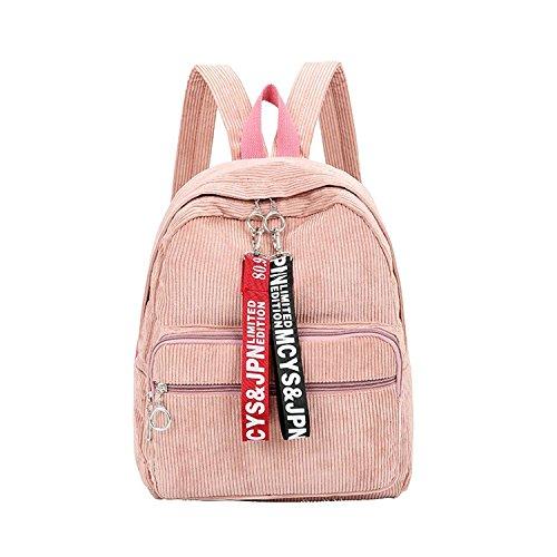corduroy ribbon shoulder bag College wind corduroy large capacity leisure student bag,one-size,light pink