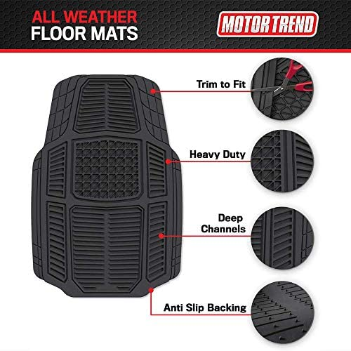 Motor Trend Armor-Tech All Weather Floor Mats, 4 Piece Set – Heavy Duty Rubber Liners for Car, Truck, SUV & Van, Black, Model Number: MT-824-BK