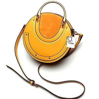 Yoome Elegant Rivet Bag Punk Purse Circular Ring Handle Handbags Cowhide Crossbody Bags For Women