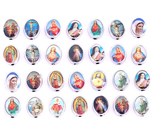 80 Mix Picture Cross Jesus Virgin Mary Catholic Enamel Our Lady Miraculous Medal Floral Rosary Centerpiece Alloy Crucifix Oval Beads (11442)