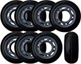 KSS 64mm 82A Inline Skate Rollerblade Wheels with 5-Spoke Hub (8 Pack), 64mm, Black/Grey/Red