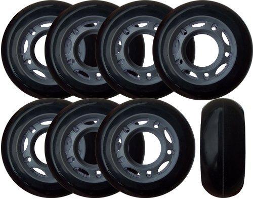 KSS 64mm 82A Inline Skate Rollerblade Wheels with 5-Spoke Hub (8 Pack), 64mm, (Hub In Line Skate Wheels)
