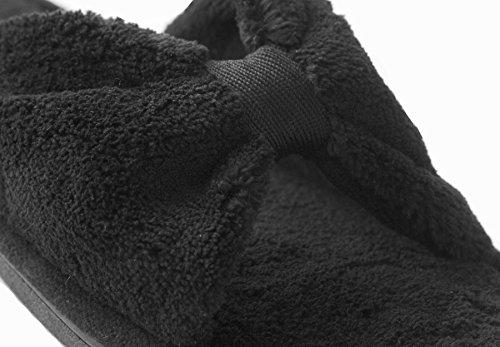 Isotoner Womens Microterry Båge Öppen Tå Slide Toffel Svart