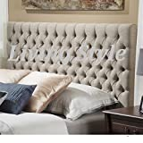 Stylish Roma Matching Button Headboard in Chenille Fabric 30 Height in 2ft6,3ft,4ft,4ft6,5ft,6ft (5FT King Size, Caramel) by Living Style