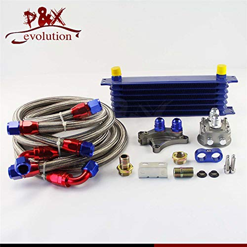 FidgetGear 7Row 262MM Oil Cooler kit for Silvia S13 S14 S15 180SX 200SX 240SX SR20DET Blue