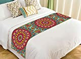 PicaqiuXzzz Custom Indian Vintage Style Bed Runner, Floral Mandala Bohemian Bed Runners And Scarves Bed Decoration 20x95 inch