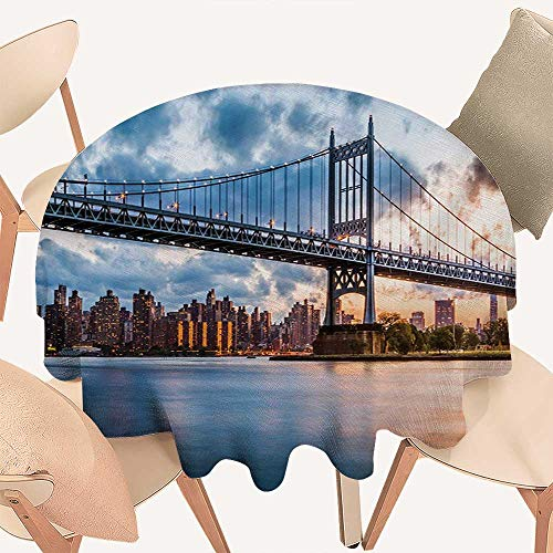 W Machine Sky New York City Dinning Tabletop Decoration Kennedy Triboro Bridge in Queens New York Manhattan River Scenery Round Tablecloth D 60