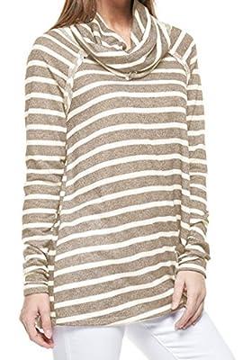 Marilyn & Main Women's Cozy French Terry Pullover Sweatshirt Sweater (Medium, Mocha Stripe)