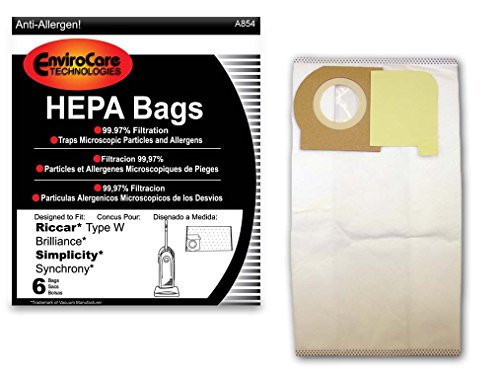EnviroCare Replacement HEPA Vacuum Bags to fit Riccar Type W Brilliance and Simplicity Synchrony Vacuum Cleaners 6 pack