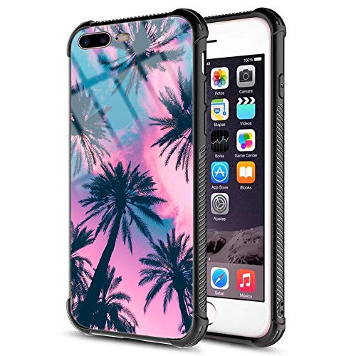 iPhone 7 Plus Case, iPhone 8 Plus Case,Pink Tropical Palm Tree Leaves Pattern Tempered Glass Back and Soft Silicone TPU Bumper Shock Absorption Anti-Slip Case for iPhone 7 Plus/iPhone 8 Plus (Tree Pattern Palm)