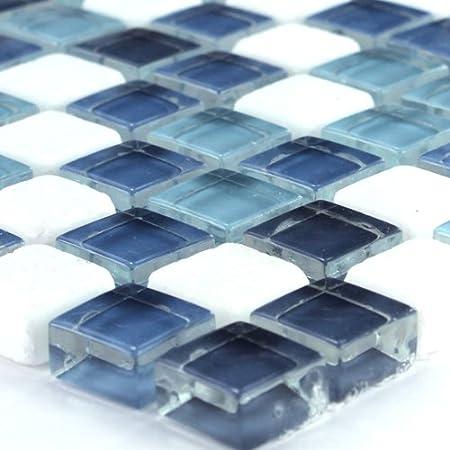 Glas Marmor Mosaik Fliesen Bunt Mix 15x15x8mm