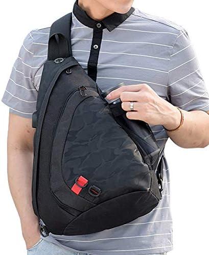 USBポート付きショルダーバッグボディバッグ防水ワンショルダーバッグヤホンホールデザイン盗難防止防水ナイロンバッグ軽量ワンショルダー斜め掛けバッグパッドミニ収納可能
