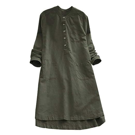 f46be7e2351 Nevera Women s Long Sleeve Cotton Linen Casaul Oversized Maxi Long Shirt  Dresses (M