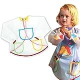 Yonger Full Protection Vinyl Art Smock Waterproof Toddler Apron Long Sleeves