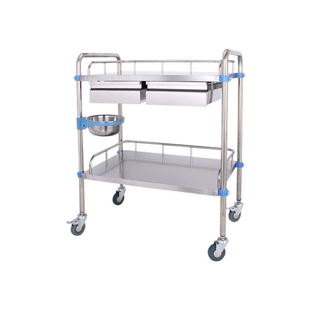 Jian E Stainless Steel Trolley - Double Trolley Care Dressing Medical Tray Trolley Clinic Beauty (Size : 604086cm)