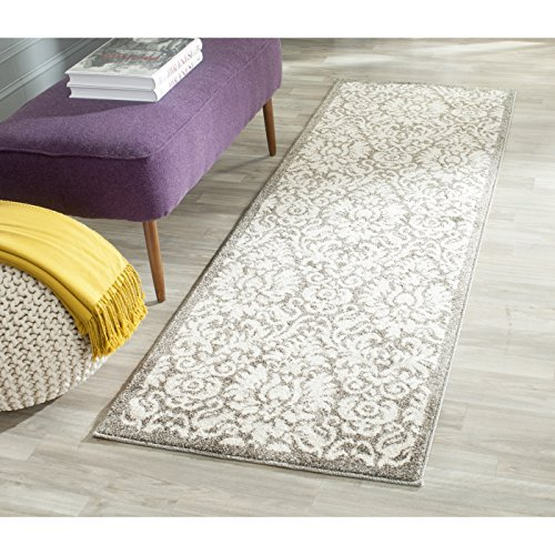 Safavieh Amherst Collection AMT427R Dark Grey and Beige Indoor/ Outdoor Runner (2'3