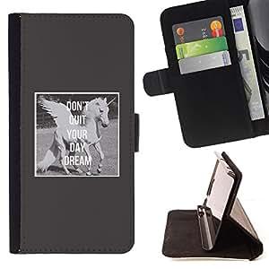Ihec-Tech / Negro Flip PU Cuero Cover Case para Apple Iphone 5 / 5S - Unicornio gris Caballo divertido Negro