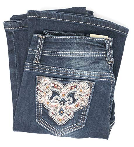 Big Girls Bootcut Fashion Jeans w/Embellished Bling Embroidered Pocket (Dynasty, 12)