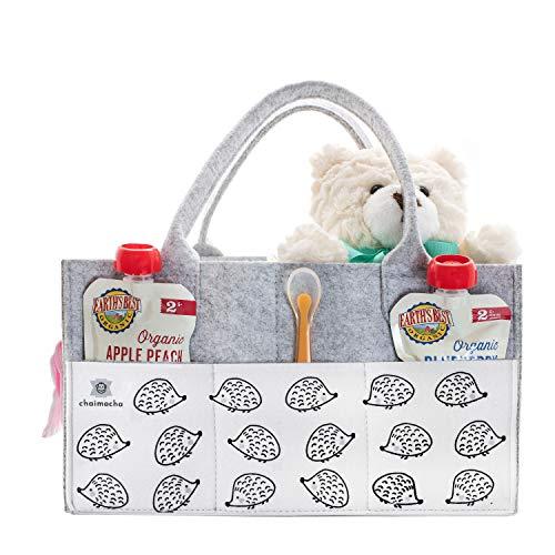 Designer Baby Diaper Caddy Organizer - Portable Diaper Bag Organizer | Nursery Bag for Changing Table | Car Organizer (Hedgehog)
