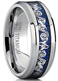 Metal Masters Co. 8MM Men's Titanium Wedding Band Ring With Dragon Design Over Blue Carbon Fiber Inlay Size 9.5