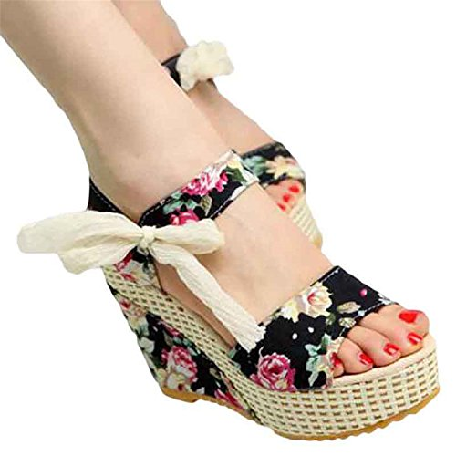 Sandals Sweet Shoes Tribble Heeled Floral Buckle Jeff Open Sandals Women Flowers Platform Wedge Toe Floral High EpUHwq87