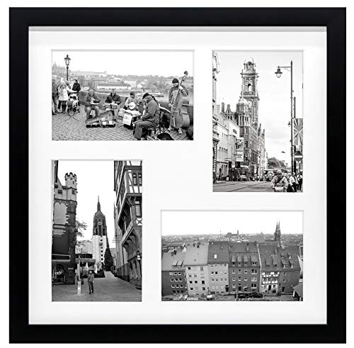 Golden State Art 12x12 Black Wood Frame with White Mat - Displays Four 4x6 Photos - Square Collage Frame - Real Glass, Sawtooth Hanger, Flexible Metal Tabs - Wall Mounting, Landscape, Portrait (With 4x6 Openings Frame 4)