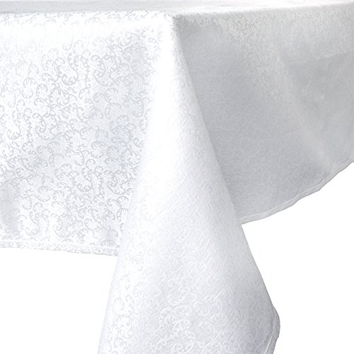 R.LANG Spillproof Tablecloth 60 x 84-inch Jacquard Tablecloth Rectangle Bleach White (Jacquard Tablecloth 60x84)