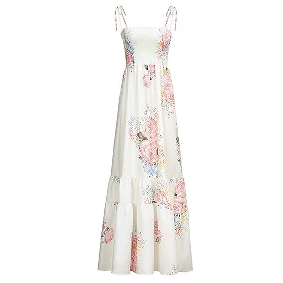 Yhjklm-CLOTH El Vestido Estampado Holiday Sling Straps Falda Larga ...