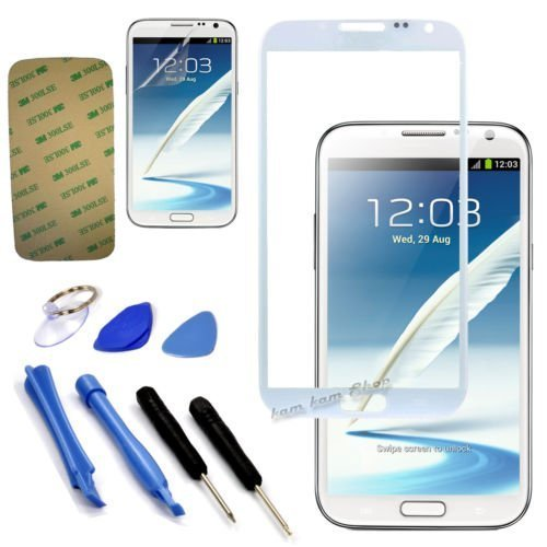 Price comparison product image White original Outer Glass FOR Samsung Galaxy Note 2 N7100 i317 T889 N7105 N7102 Lcd lens (no digitizer touch) +sticker