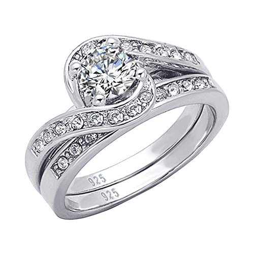 Sterling Silver Small Twist - Wuziwen 925 Solid Sterling Silver Twist Engagement Matching Wedding Ring Set Cubic Zirconia Size 8