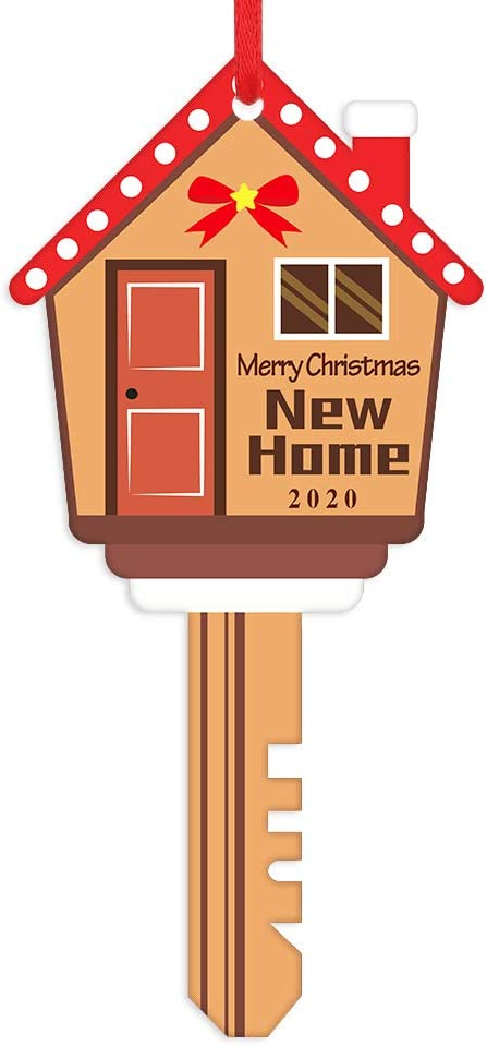 WhatSign New Home Christmas Ornaments 2020 Personalized Key Ornaments Christmas Tree Decoration Housewarming Gifts with Gifts Box
