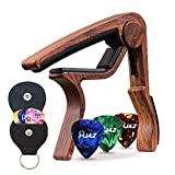 Guitar Picks Guitar Capo Quick Change Acoustic Guitar Accessories Capo Key Clamp Black With Free 6 Pcs Guitar Picks and Leather Guitar Picks Holder (Rosewood Color)