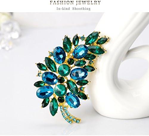 JAJAFOOK Fashion Waterdrop Flower Brooch Silver//gold Plated Crystal Rhinestone Scarf Jewelry