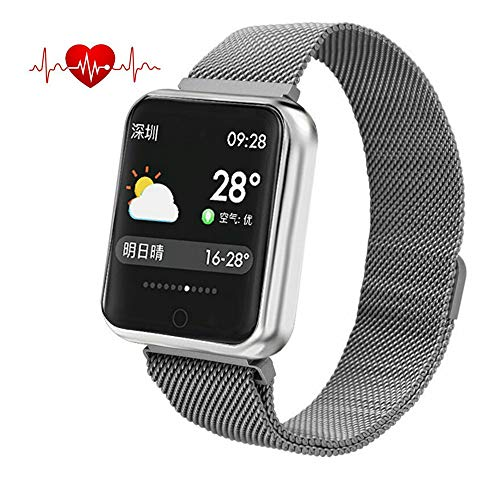 elecfan Smart Band with Heart Rate, Activity Bracelet with Blood Pressure/Oxygen/Sleep Monitor/Calorie Counter/Pedometer/Call/SMS Remind for Running,Gym,Swimming,Riding (Stainless Steel Band,Silver)