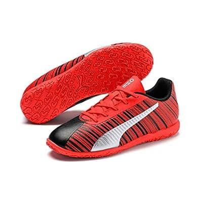 PUMA PUMA ONE 5.4 IT JR Boys Futsal Shoes, PUMA Black-NRGY RED, 1 US