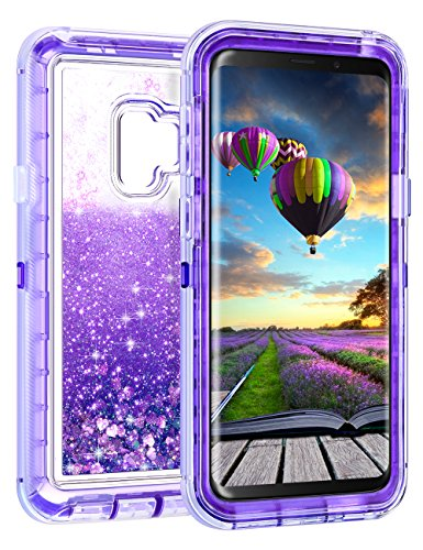Coolden Floating Glitter Case for Galaxy S9, Luxury Sparkle Bling Quicksand Liquid Cover Clear Shockproof Bumper Dual Layer Anti-Drop PC Frame & TPU Back for Samsung Galaxy S9, Purple