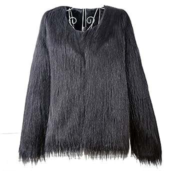 Women's Vintage Winter Warm Fluffy Faux Fur Coat Solid