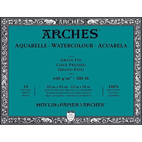 300 Lb Cold Press - Arches Watercolor Paper Block, Cold Press, 12