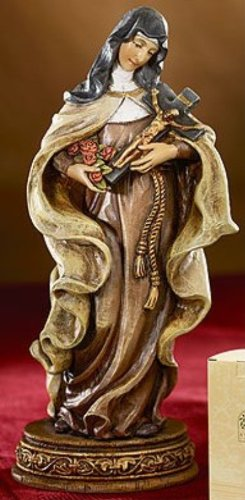 Saint Theresa the Little Flower of Jesus Resin Statue Figurine, 6 Inch -