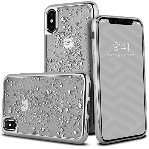 iPhone X Case, Celljoy - Apple iPhone X 10th Anniversary Case, Celljoy [Metallic TPU Flake] - BLING - Chrome Rubber Silicone Flexible Gel Protective Bumper Skin Thin Soft Cover (Silver Flake)