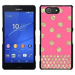 Caucho caso de Shell duro de la cubierta de accesorios de protección BY RAYDREAMMM - Sony Xperia Z3 Compact - Dot Pink Bling del oro