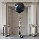 FindFun 36 Inch Glitz And Glam Tassel Tail Black Giant Balloon for Halloween Party Wedding Decoration (3 Pack)
