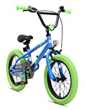 Bikestar Original Premium Safety Sport Kids Bike Bicycle for Kids age 4-5 year old children | 16 Inch BMX Edition | Blue & Green
