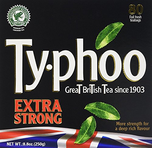 TYPHOO TEA, TEA, BOLD, EXTRA STRONG, Pack of 6, Size 80 BAG - No Artificial Ingredients