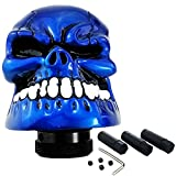 LUNSOM Universal Knob Shifter Blue Cool Automatic Shifts Knob Skull Large Mouth White Teeth Manual Transmission Car Gear stick shift Accessories for Man and Women (Blue)
