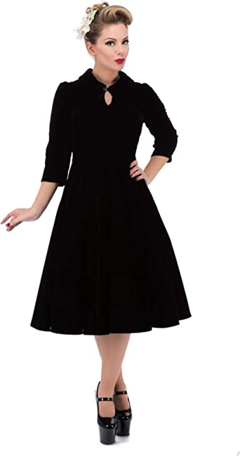 HEARTS and ROSES H/&R LONDON 50s style NIGHTSHADE VELVET party DRESS BLACK