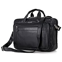 BAIGIO Men's Large Leather 17 Inch Laptop Briefcase Shoulder Tote Handbag Luggage (Black)
