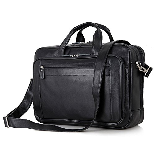 Black Leather Organizer Briefcase Large Shoulder Messenger Bag Fit 17 Inch Laptop Tote by BAIGIO