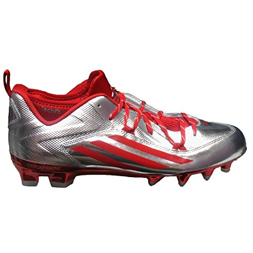 adidas Men's Crazyquick 2.0 Low Strategy Football Cleats (12, Platinum/Power Red/Power Red)